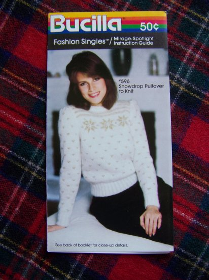 1 Cent S&H USA Vintage Bucilla Knitting Pattern Snowflake Christmas Pullover Sweater