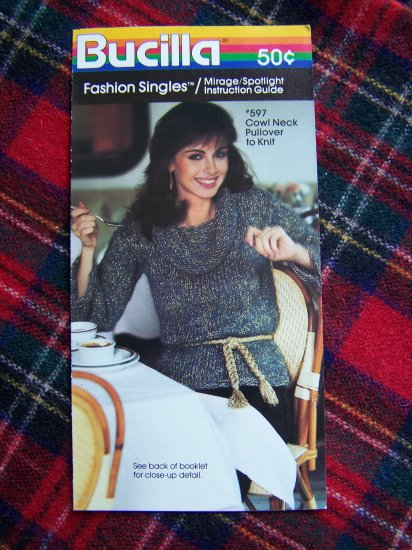 80's Vintage Knitting Pattern Cowl Neck Pullover Sweater Misses 8 10 12 14 16