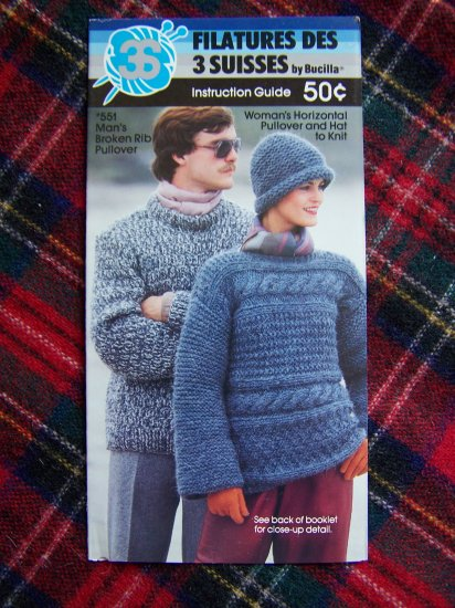 Vintage Bulky Horizontal Pullover Sweater and Hat to Knit Bucilla 551