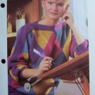 Vintage 1980s Diamond Patchwork Sweater Vintage Crochet Knitting Pattern US 1 Cent S&H