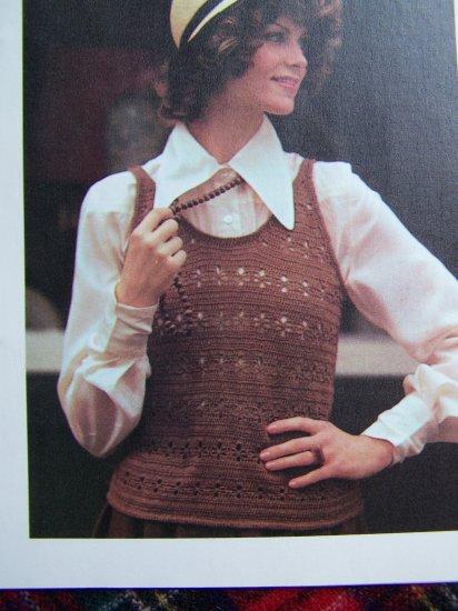 Vintage Summer Openwork Tank Top Crochet Pattern Misses Bust 32 34 36 38