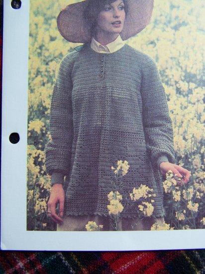 Vintage Hippie Crochet Smock Top Pattern Rose Motif 1 Cent USA S&H