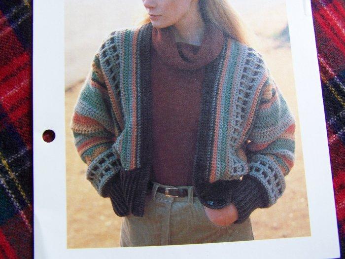 Vintage Striped Bulky Cardigan Sweater Crochet Pattern 1980's
