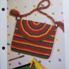 Vintage Hippie Striped Shoulder Bag Purse Crochet Pattern 1 Cent Shipping Special