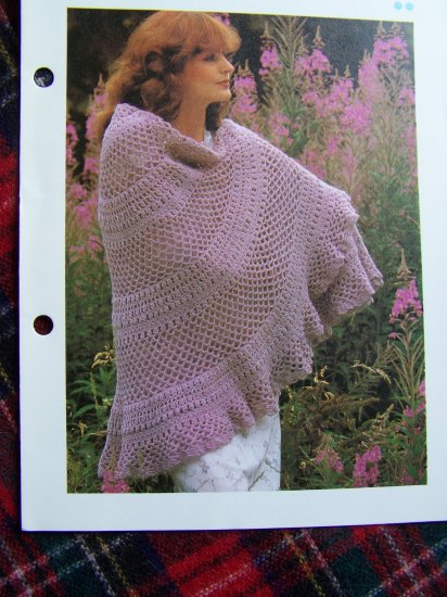 Vintage Crochet Pattern Cluster Lace Shawl Crocheted Wrap 1 Cent USA S&H