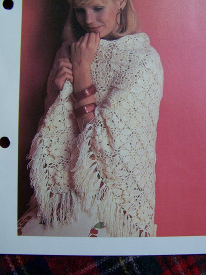 Vintage Flower Shawl Floral Wrap Crochet Pattern 1 Cent USA S&H