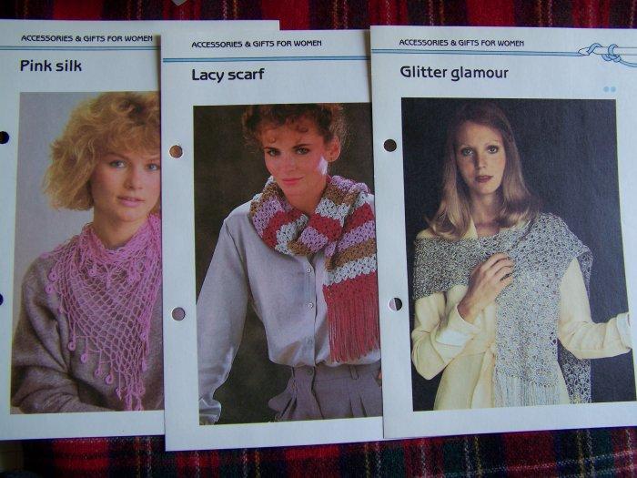 Vintage Lot 3 Crochet Pink Silk Scarf Patterns Lacy Shawl Evening Wrap Crocheting