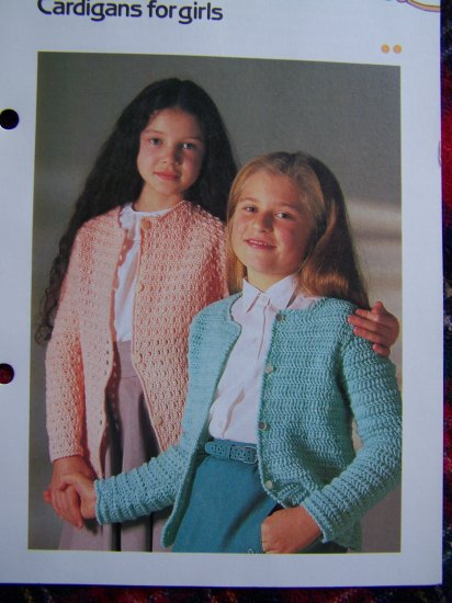 Vintage Girls Crochet Pattern Fan & Cluster Stitch Cardigan Sweaters USA 1 Cent S&H Special