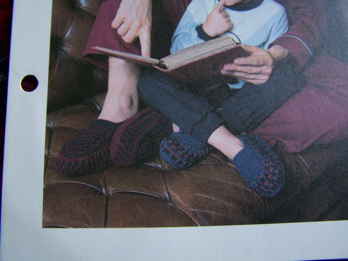 Vintage Crochet Pattern Father & Son Slippers House Shoes USA 1 Cent S&H Special