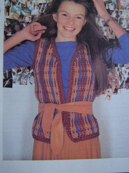 XS S Teen Misses All in One Open Front Wrap Vest Crochet Pattern