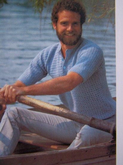 Mens Short Sleeve Summer Crocheted Shirt Pattern USA 1 Cent Shipping