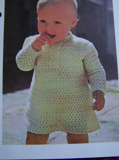 Baby's Crochet Tunic Top Dress Pattern NB 6M 1 T Infant Crocheted Vintage Blouse