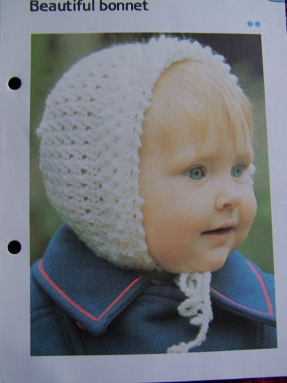 6M 1 Year Infant Bonnet Crochet Pattern Vintage Baby Hat USA 1 Cent Shipping Specials