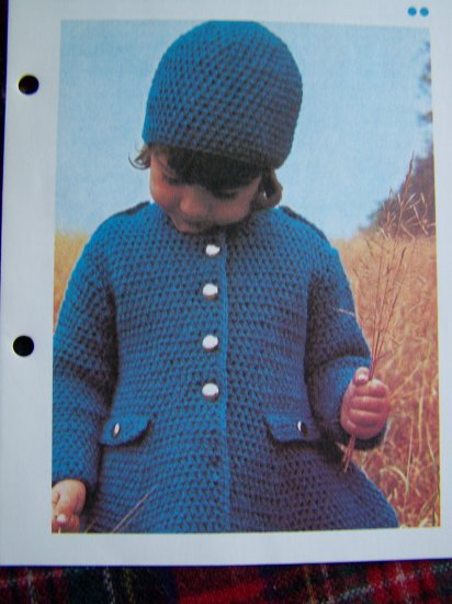 Vintage Girls Crocheted Coat and Hat Crochet Pattern 3 5 7 Years USA 1 Cent S&H