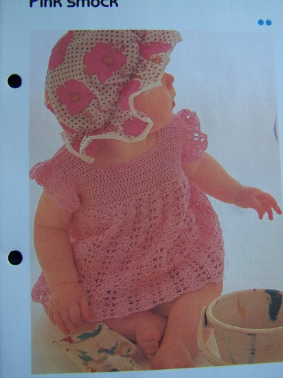Infants Smock Top Beach Dress Cover Up Vintage Crochet Pattern USA 1 Cent S&H