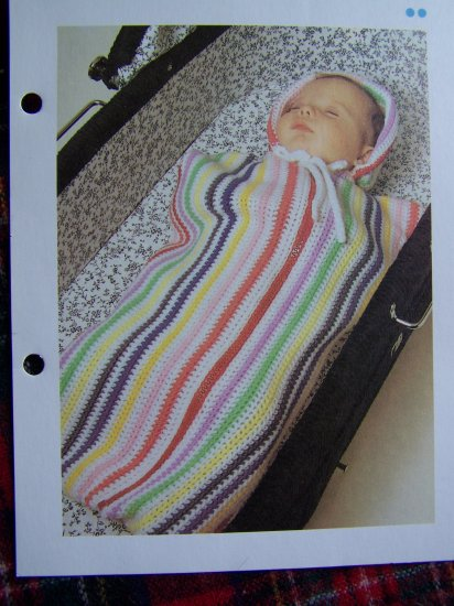 USA 1 Cent S&H Vintage Crochet Pattern Infant Striped Baby Bunting Sac