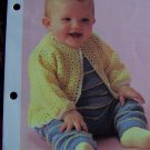 Vintage Crochet Pattern Infant Button Up Cardigan Babys Sweater 1 Cent USA S&H