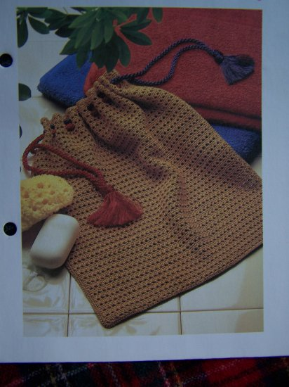 Handy Drawstring Bag Vintage Crochet Pattern USA 1 Cent Shipping Special