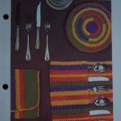 Vintage Crochet Pattern Silverware & Plate Holders Hippie Kitchen