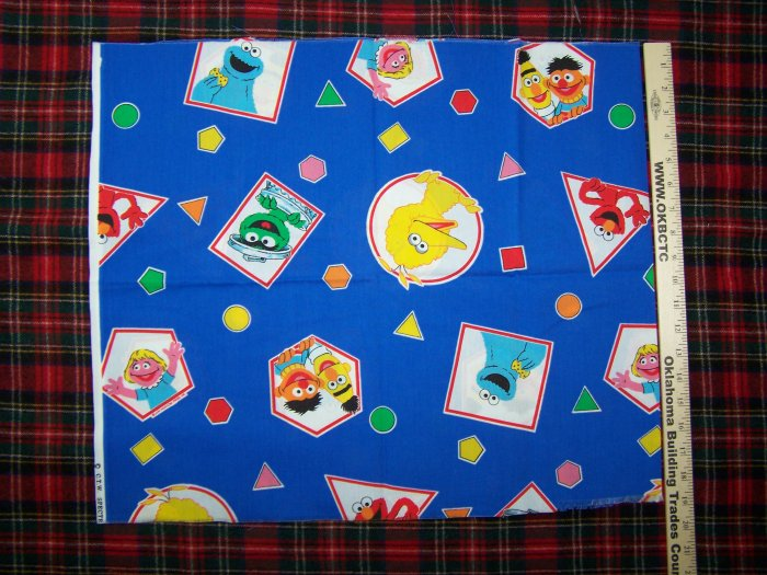 USA $1 S&H Vintage Sesame Street Cotton Fabric Cookie Big Bird Oscar Bert Ernie Elmo