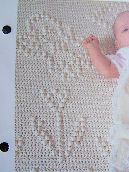 1 Cent USA S&H Baby's Flowers Vintage Crochet Pattern Tufted Infant Afghan Blanket