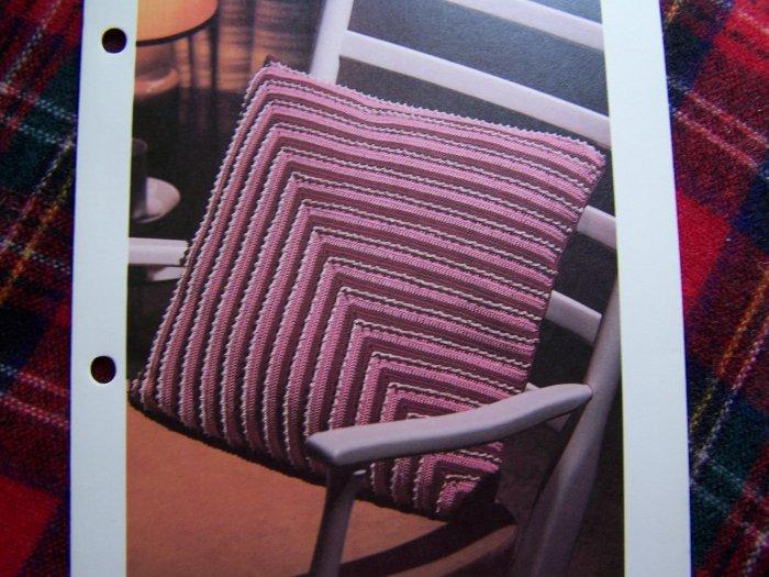1 Cent USA S&H Vintage Crochet Pattern Diagonal Striped Pillow Stripes