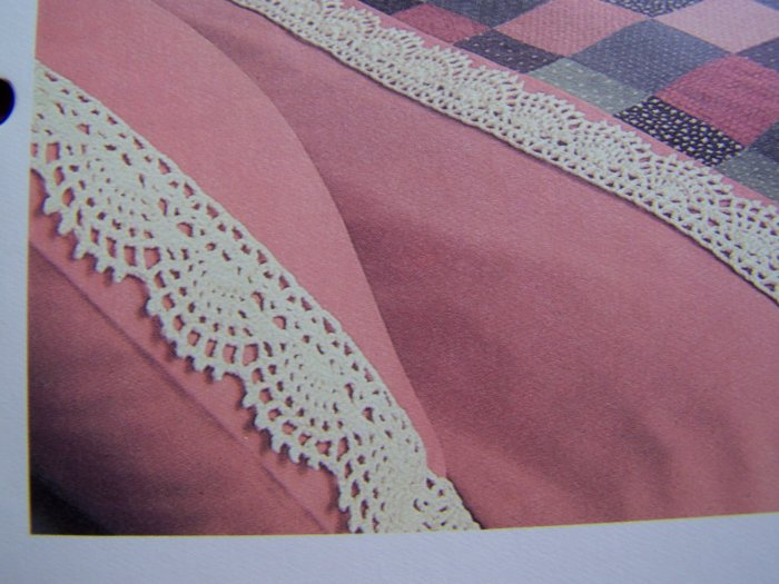 1 Cent USA S&H Vintage Crochet Pattern Scalloped Sheets Pillowcase Edging