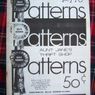 Vintage Blue Ribbon Patterns Aunt Jane's Thrift Store Pattern Crafts