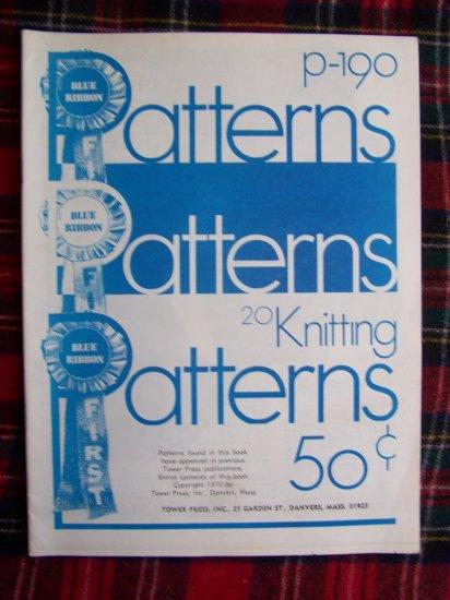 70's Vintage Knitting 20 Patterns Blue Ribbon Hats Sweaters Helmet