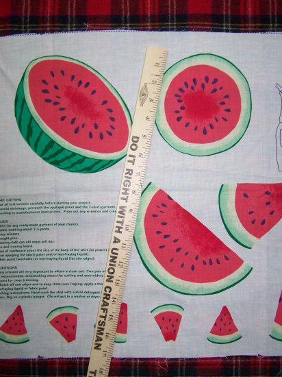 $1 US S&H Vintage Watermelon Applique Cotton Fabric Panel