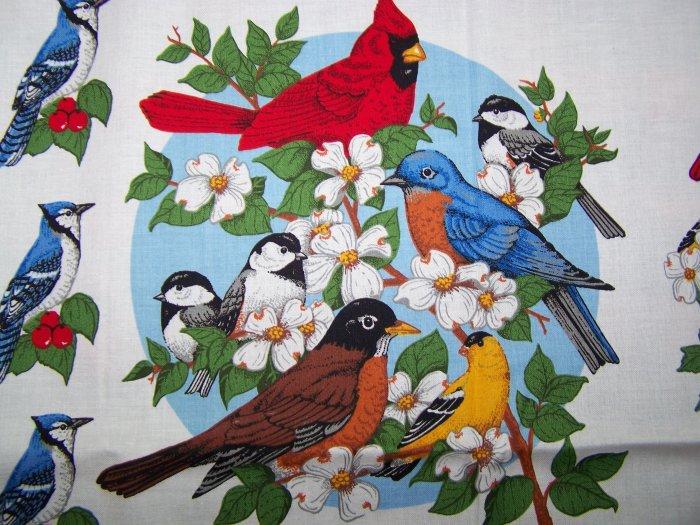 $1 US S&H Vintage Garden Birds Applique Cotton Fabric Panel Bird Watchers