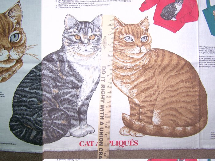 $1 USA S&H Vintage Kitty Cat Appliques Cotton Craft Fabric Panel