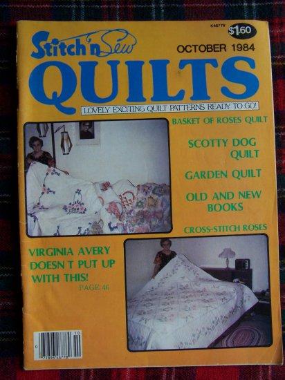 Vintage Quilting Patterns Stitch 'N Sew Quilt Pattern Magazine October 1984