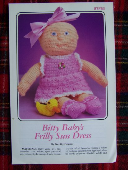 USA 1 Cent S&H Vintage Annie's Attic Bitty Baby's Frilly Sun Dress Crochet Pattern