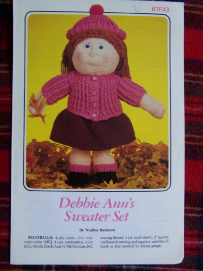 USA 1 Cent S&H Vintage 1980s Annie's Attic Crocheting Doll CLothes Pattern 87F43