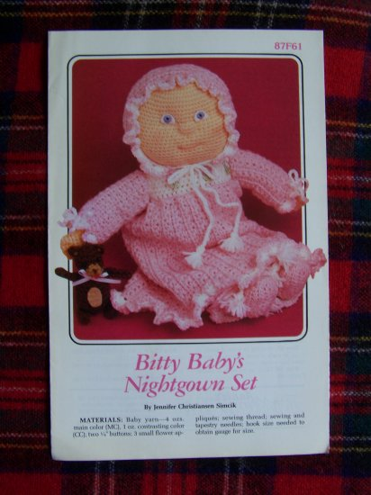 Annie's Vintage Doll Clothing Pattern Nightgown Pj Set 1 Cent USA Shipping