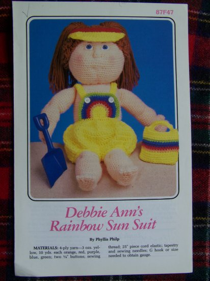 Vintage Baby Doll Crochet Clothing Pattern Sun Suit Romper Soft Sculpture USA S&H Special