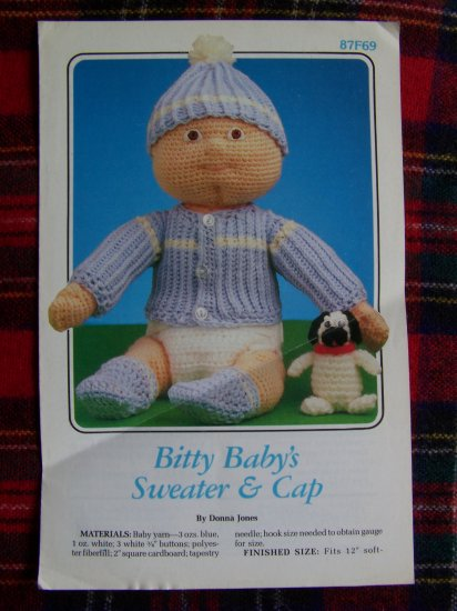 Vintage Crocheting Pattern SOft Sculpture Doll CLothing Baby Sweater and Cap