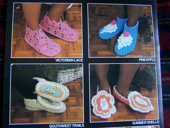 Annie's Attic Easy Mile a Minute Crochet SLippers House Shoes Patterns 265B
