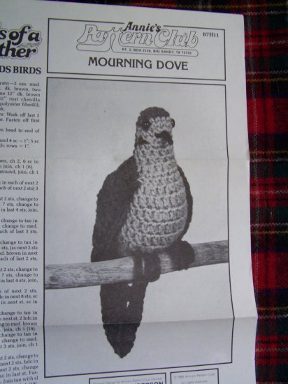 Vintage Annie's Crochet Pattern Birds of A Feather Backwoods Bird Mourning Dove