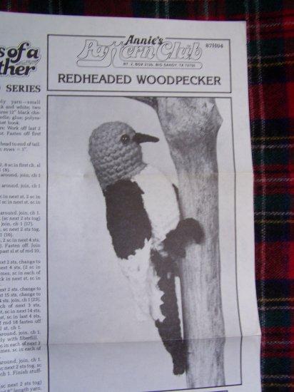 Annie's Crochet Pattern Club Redheaded Woodpecker Songbird Crocheting 87H04