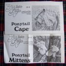 2 Vintage Girls Crochet Patterns Ponytail Mittens & Cape 4 - 6 8 -12 USA 1 Cent S&H