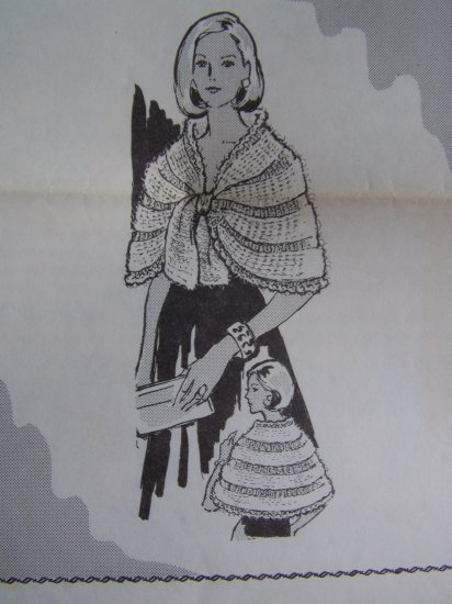 USA 1 Cent S&H Vintage Crocheted Pattern Evening Cape Shawl Wrap Womens Design 624