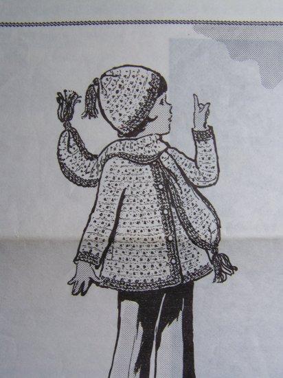 USA 1 Cent Ship Vintage Girls Crochet Pattern Winter Coat Jacket Hat Scarf 2 4 6 8 10 12