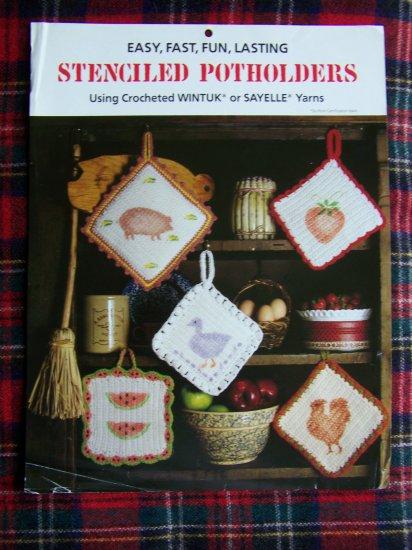 Crochet Stenciled Potholders Pattern Instructions