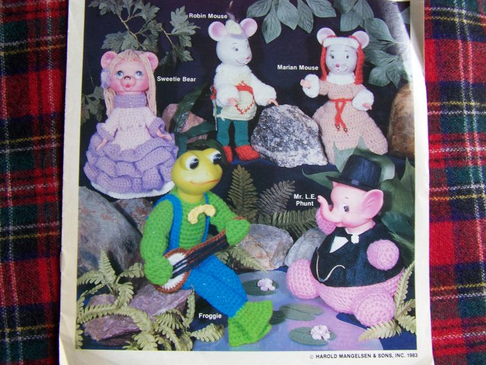 10 Vintage Crochet Animal Characters Patterns 1 Cent USA SHipping