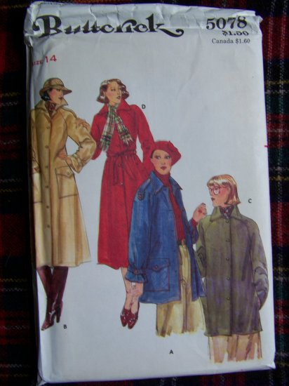 80's Vintage Sewing Pattern Lined Coat & Jacket Misses 14 Butterick 5078
