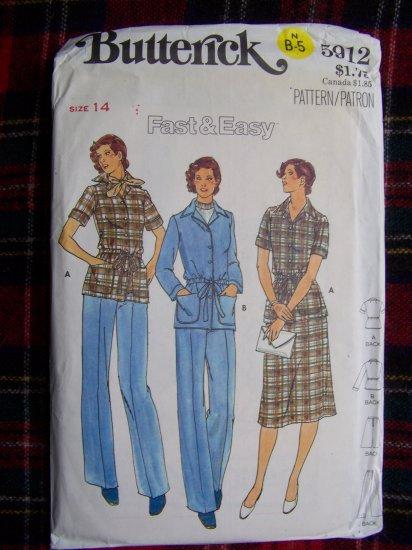 Vintage Sewing Pattern Jacket A Line SKirt Straight Leg Pants 5912