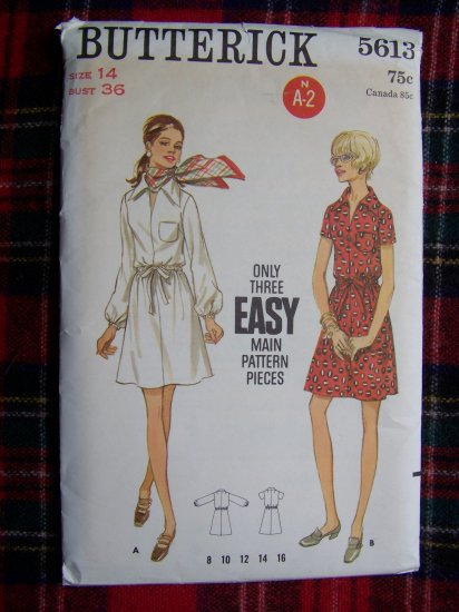 USA 1 Cent S&H Easy 1960's Vintage Sewing Pattern A Line Dress 5613