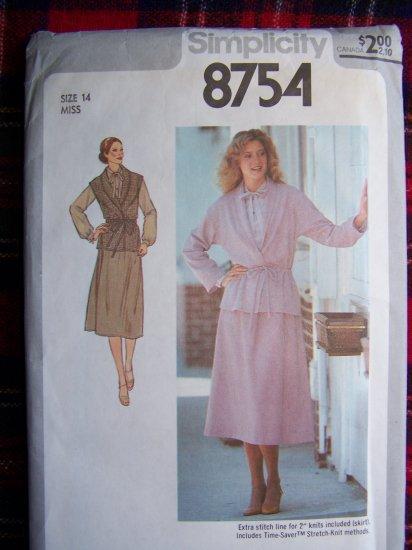 Vintage SKirt BLouse Unlined Jacket or Vest Sewing Pattern 8754 Bust 36